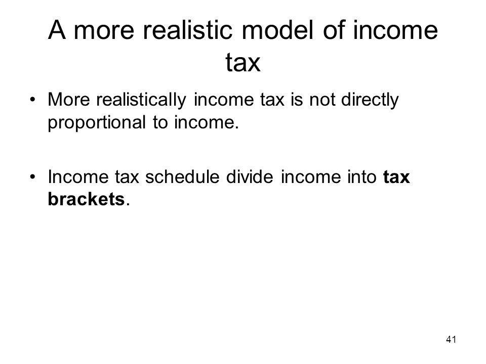 41 A more realistic model of income tax More realistically income tax is not directly proportional to income. Income tax schedule divide income into t