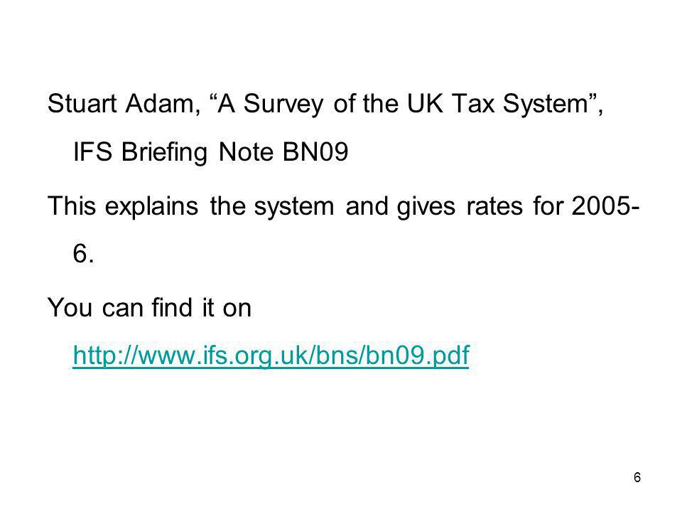 47 Usual description of this tax scheme total annual £marginal tax income rate < 5000 0 5000 - 2000020 % > 20000 40 %