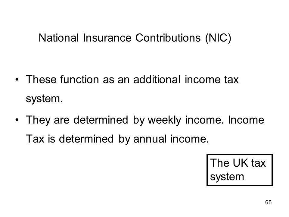 65 National Insurance Contributions (NIC) These function as an additional income tax system. They are determined by weekly income. Income Tax is deter