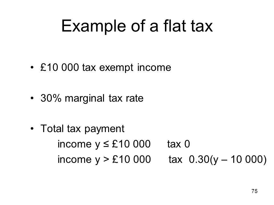 75 Example of a flat tax £10 000 tax exempt income 30% marginal tax rate Total tax payment income y £10 000tax 0 income y > £10 000 tax 0.30(y – 10 00