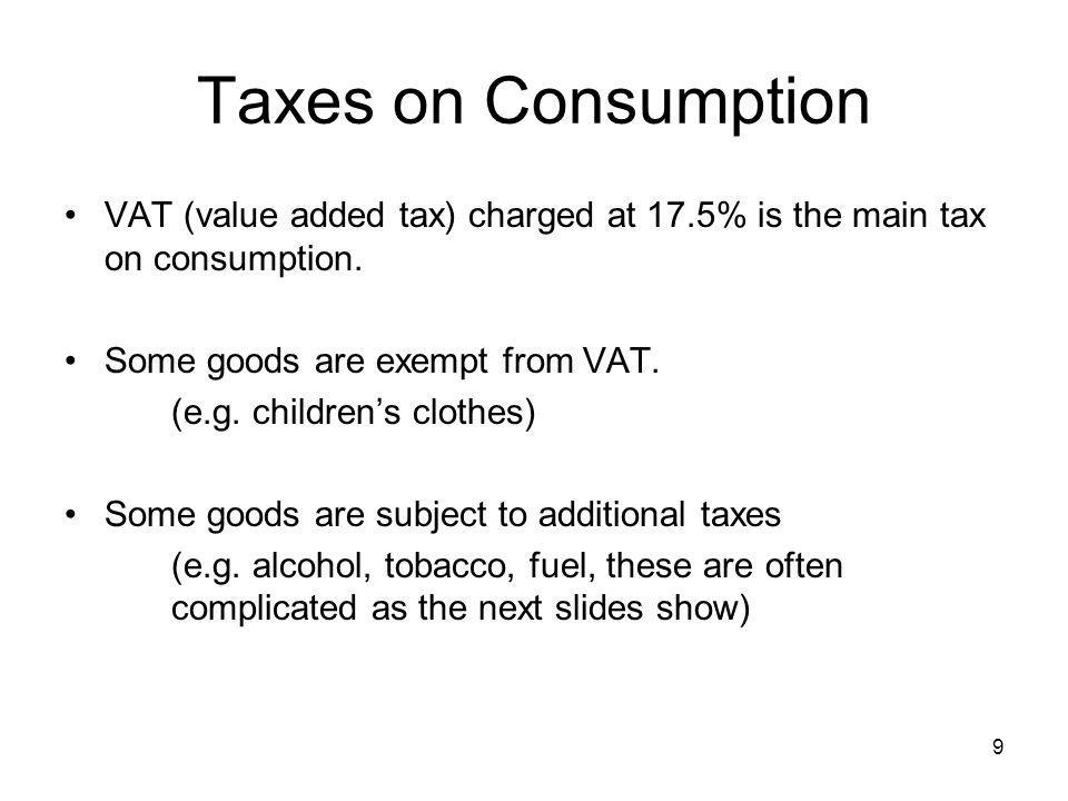 40 More generally, we get the same budget constraint with a proportional income tax at rate t m as with a proportional consumption tax at a rate t c if (1 - t m ) (1+ t c ) = 1.