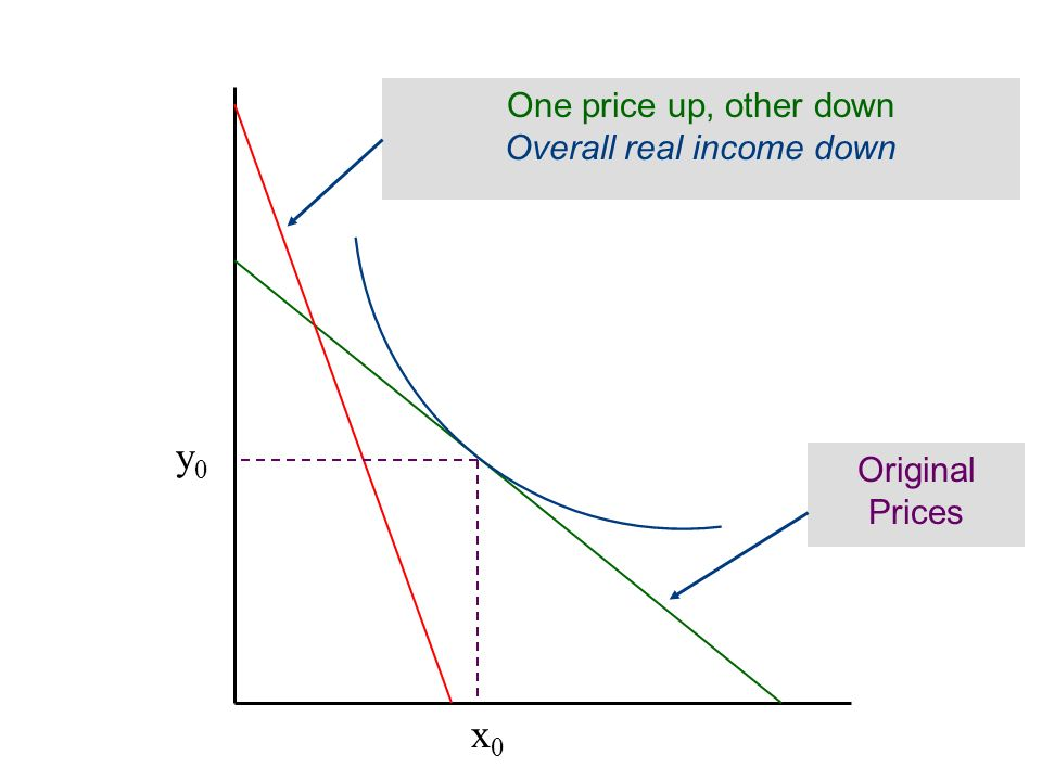 x0x0 y0y0 One price up, other down Overall real income down Original Prices