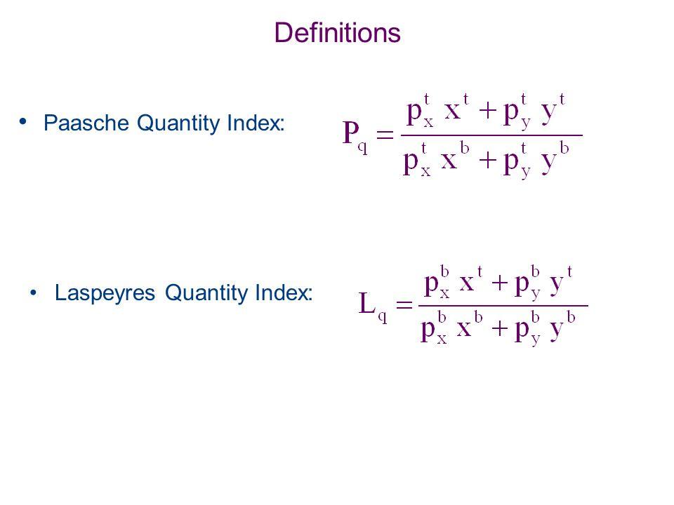 Definitions Paasche Quantity Index: Laspeyres Quantity Index: