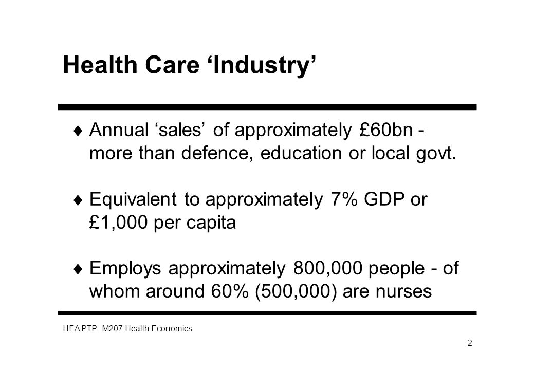 HEA PTP: M207 Health Economics 2 Health Care Industry Annual sales of approximately £60bn - more than defence, education or local govt.