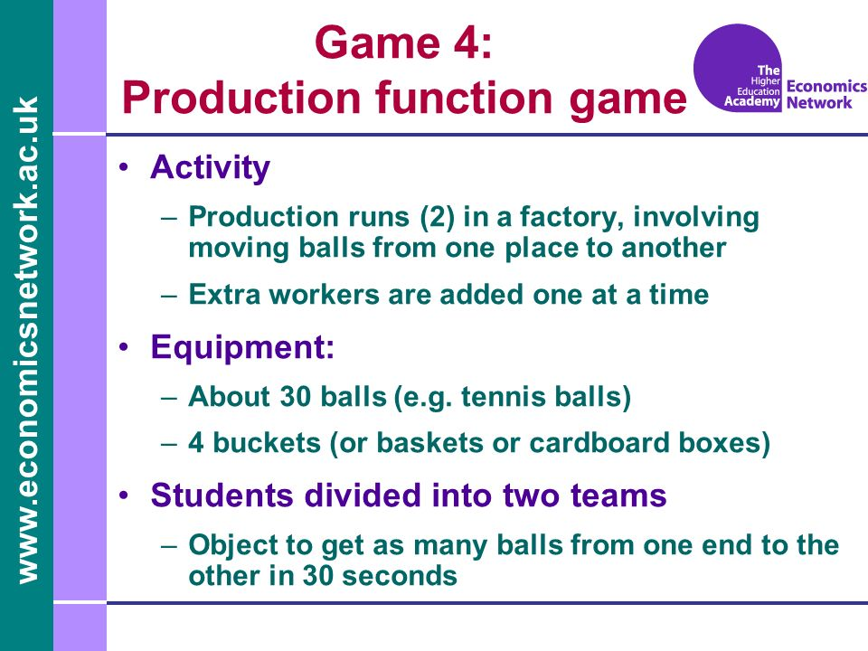 www.economicsnetwork.ac.uk Game 4: Production function game Activity –Production runs (2) in a factory, involving moving balls from one place to anoth