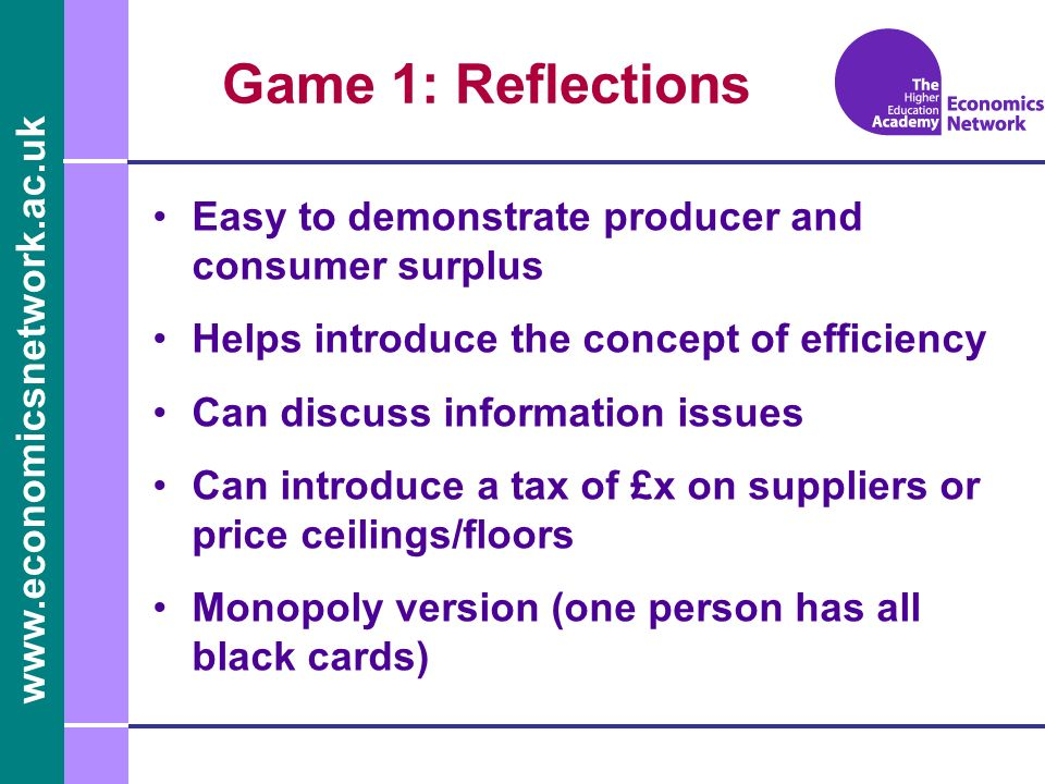 www.economicsnetwork.ac.uk Game 1: Reflections Easy to demonstrate producer and consumer surplus Helps introduce the concept of efficiency Can discuss
