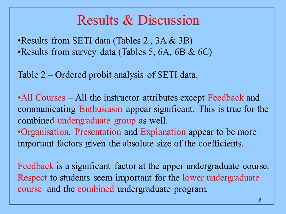 8 Results & Discussion Results from SETI data (Tables 2, 3A & 3B) Results from survey data (Tables 5, 6A, 6B & 6C) Table 2 – Ordered probit analysis of SETI data.