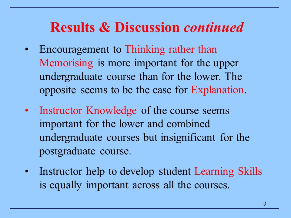 9 Results & Discussion continued Encouragement to Thinking rather than Memorising is more important for the upper undergraduate course than for the lower.
