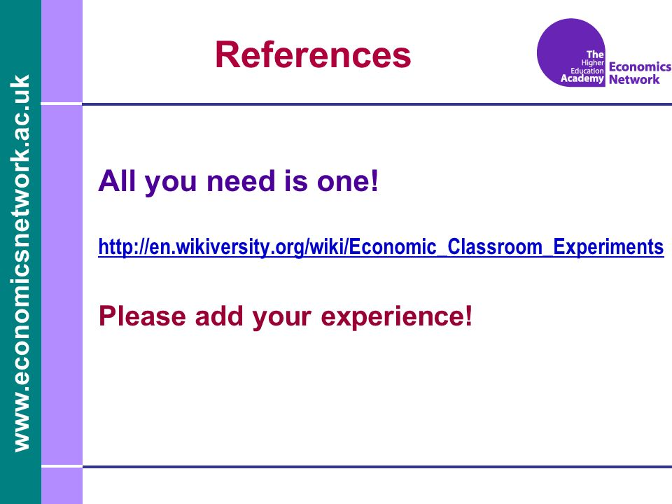 www.economicsnetwork.ac.uk References All you need is one.