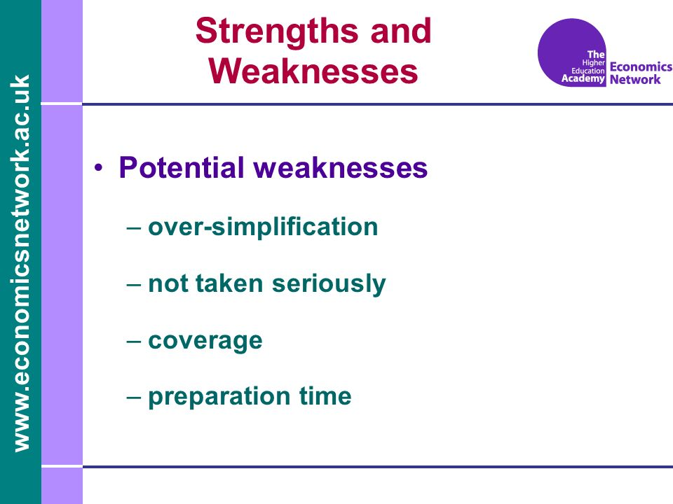 www.economicsnetwork.ac.uk Potential weaknesses –over-simplification –not taken seriously –coverage –preparation time Strengths and Weaknesses