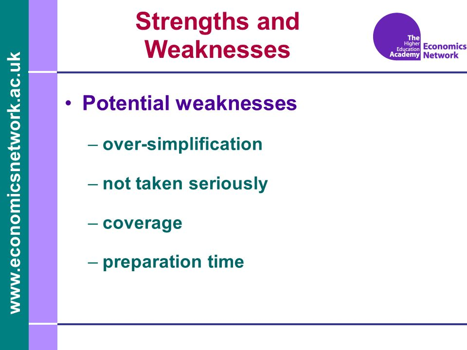 Potential weaknesses –over-simplification –not taken seriously –coverage –preparation time Strengths and Weaknesses