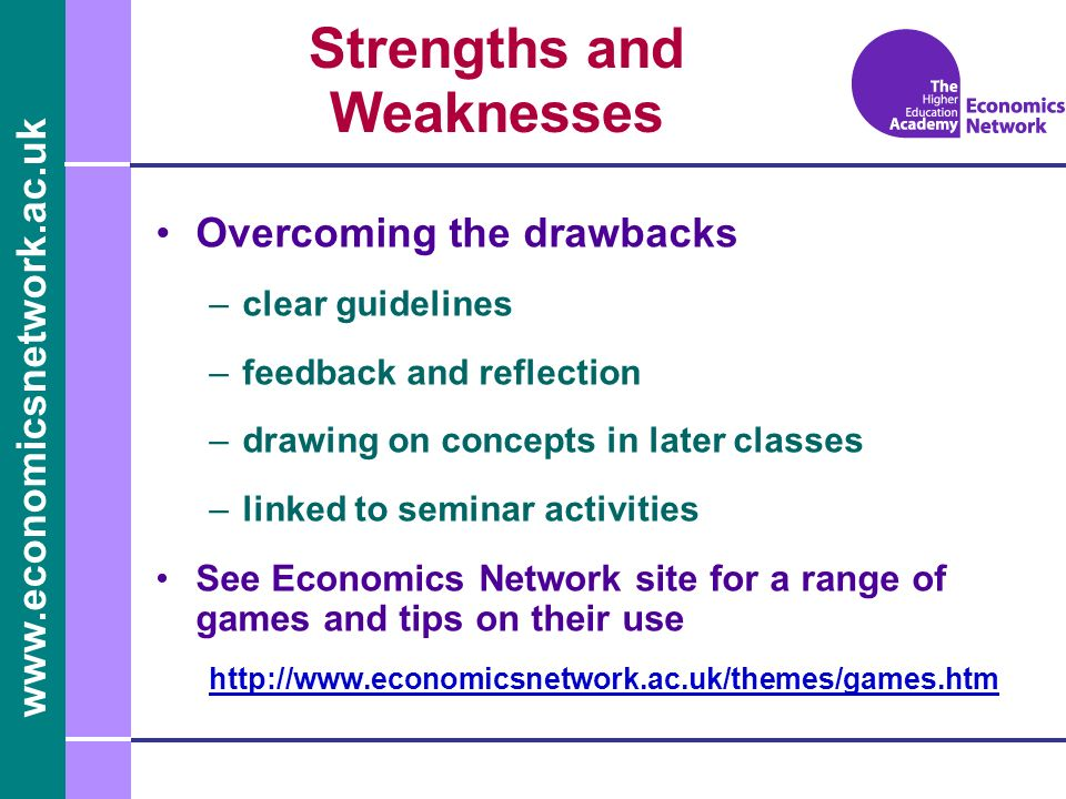 www.economicsnetwork.ac.uk Overcoming the drawbacks –clear guidelines –feedback and reflection –drawing on concepts in later classes –linked to semina