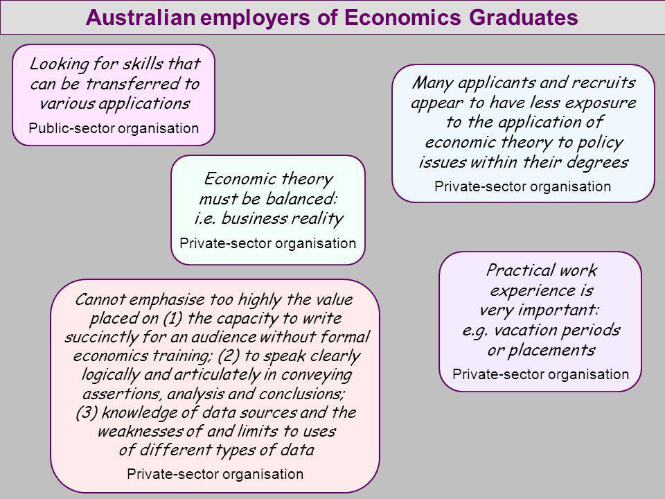 Looking for skills that can be transferred to various applications Public-sector organisation Many applicants and recruits appear to have less exposure to the application of economic theory to policy issues within their degrees Private-sector organisation Economic theory must be balanced: i.e.