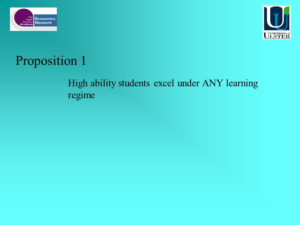 Proposition 1 High ability students excel under ANY learning regime