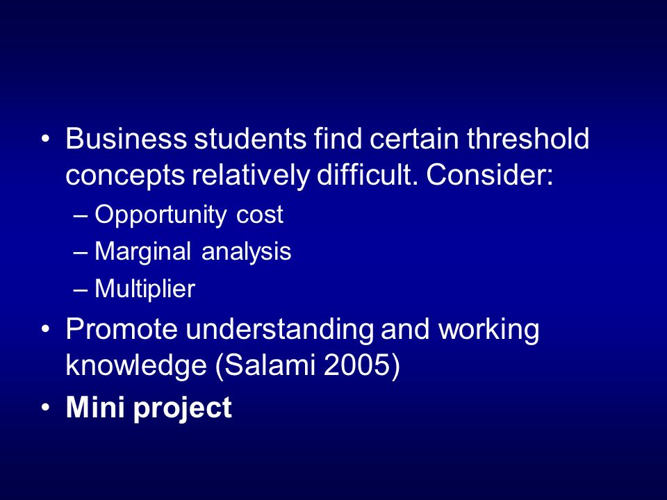 Business students find certain threshold concepts relatively difficult.