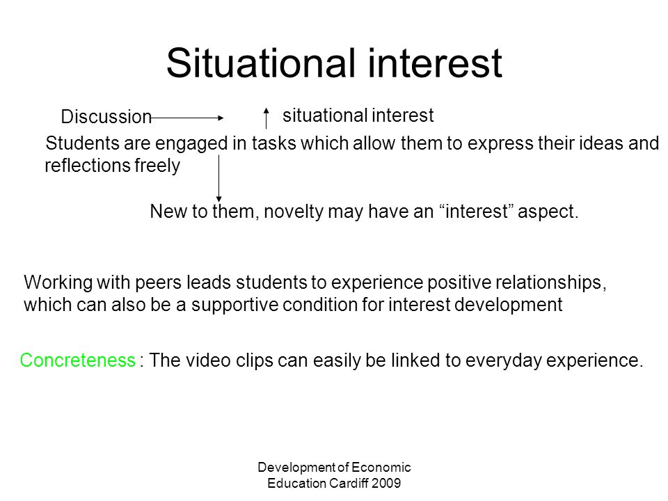Development of Economic Education Cardiff 2009 Situational interest Discussion situational interest Students are engaged in tasks which allow them to express their ideas and reflections freely New to them, novelty may have an interest aspect.