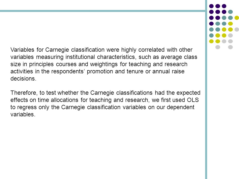 Variables for Carnegie classification were highly correlated with other variables measuring institutional characteristics, such as average class size in principles courses and weightings for teaching and research activities in the respondents promotion and tenure or annual raise decisions.
