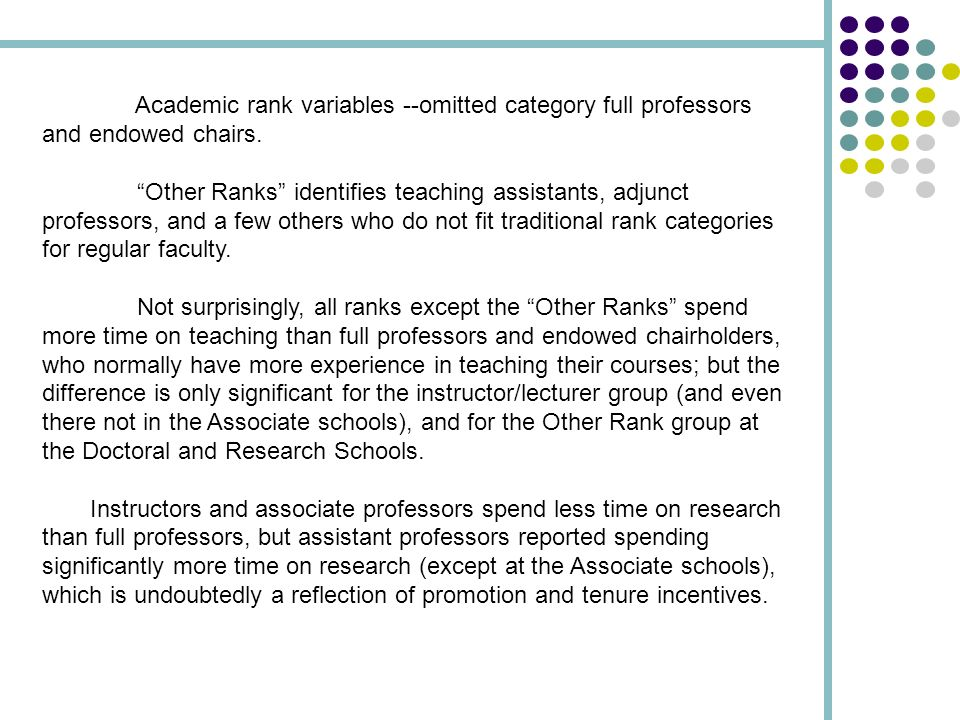 Academic rank variables --omitted category full professors and endowed chairs. Other Ranks identifies teaching assistants, adjunct professors, and a f