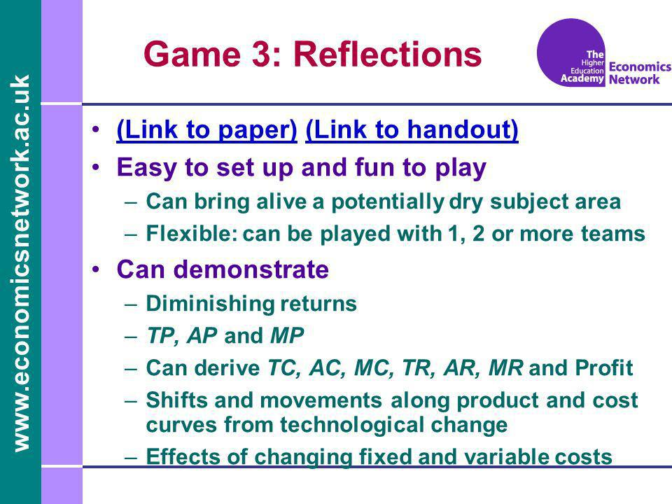 www.economicsnetwork.ac.uk Game 3: Reflections (Link to paper) (Link to handout)(Link to paper)(Link to handout) Easy to set up and fun to play –Can b