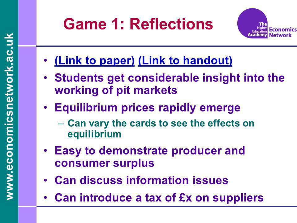 www.economicsnetwork.ac.uk Game 1: Reflections (Link to paper) (Link to handout)(Link to paper)(Link to handout) Students get considerable insight int