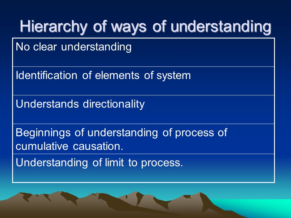 Hierarchy of ways of understanding No clear understanding Identification of elements of system Understands directionality Beginnings of understanding of process of cumulative causation.