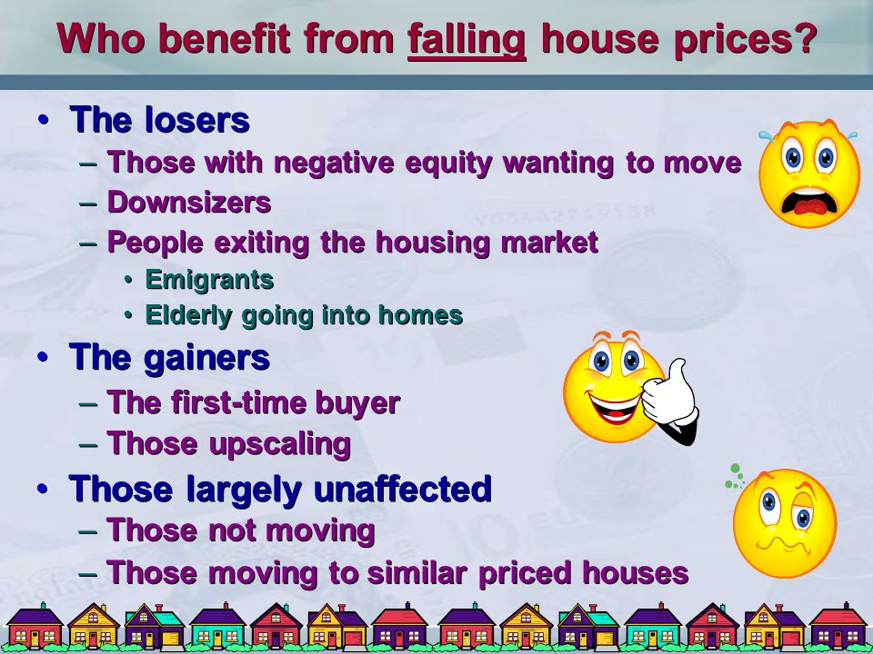 Determination of house prices Equilibrium in the housing market –Where supply of houses equals demand Many different segments of the market –Price changes caused by shifts in D and/or S D and/or S P Problem of inelasticity of supply Equilibrium in the housing market –Where supply of houses equals demand Many different segments of the market –Price changes caused by shifts in D and/or S D and/or S P Problem of inelasticity of supply
