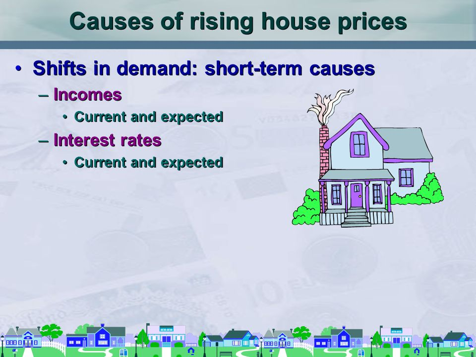 Causes of rising house prices Shifts in demand: long-term causes –Population growth Immigration and emigration –Population distribution Family size Regional trends Income distribution Shifts in demand: long-term causes –Population growth Immigration and emigration –Population distribution Family size Regional trends Income distribution