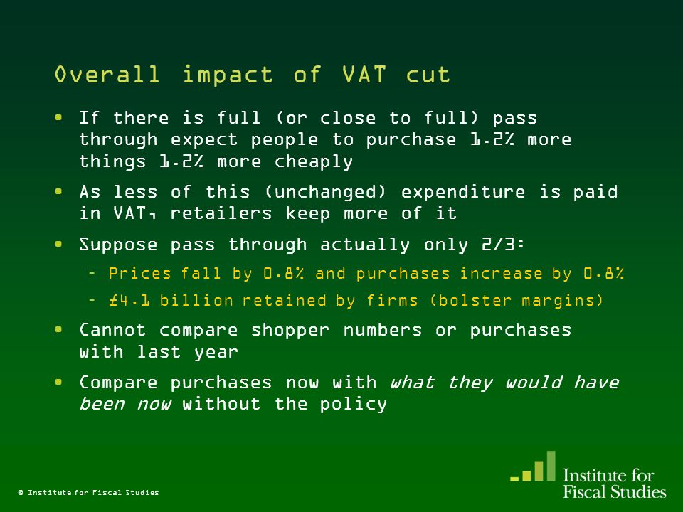 © Institute for Fiscal Studies Overall impact of VAT cut If there is full (or close to full) pass through expect people to purchase 1.2% more things 1.2% more cheaply As less of this (unchanged) expenditure is paid in VAT, retailers keep more of it Suppose pass through actually only 2/3: –Prices fall by 0.8% and purchases increase by 0.8% –£4.1 billion retained by firms (bolster margins) Cannot compare shopper numbers or purchases with last year Compare purchases now with what they would have been now without the policy