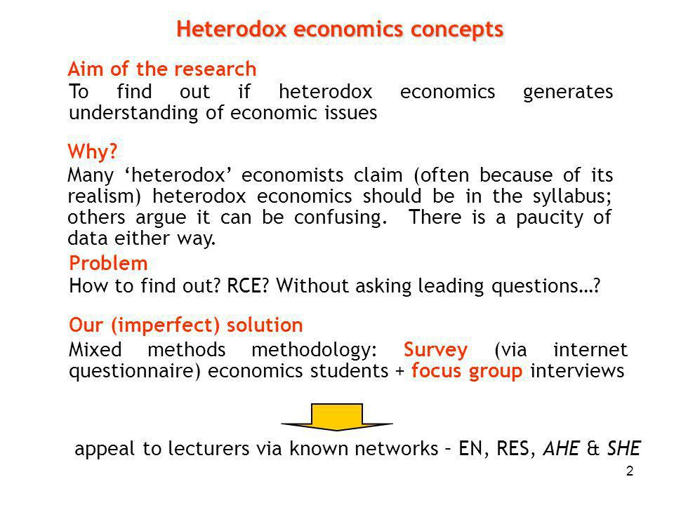 2 Aim of the research To find out if heterodox economics generates understanding of economic issues Problem How to find out.