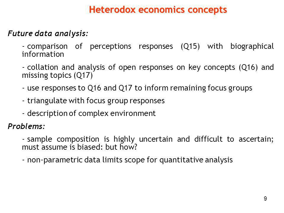 9 Future data analysis: - comparison of perceptions responses (Q15) with biographical information - collation and analysis of open responses on key concepts (Q16) and missing topics (Q17) - use responses to Q16 and Q17 to inform remaining focus groups - triangulate with focus group responses - description of complex environment Problems: - sample composition is highly uncertain and difficult to ascertain; must assume is biased: but how.