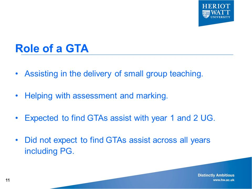 Role of a GTA Assisting in the delivery of small group teaching.