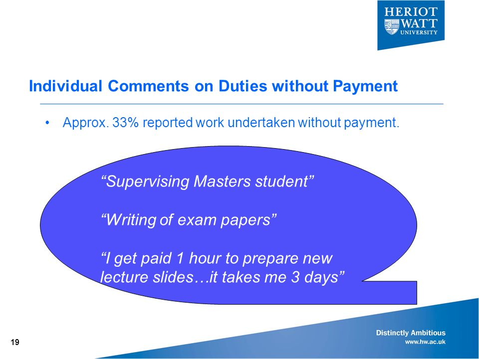 Individual Comments on Duties without Payment Approx.