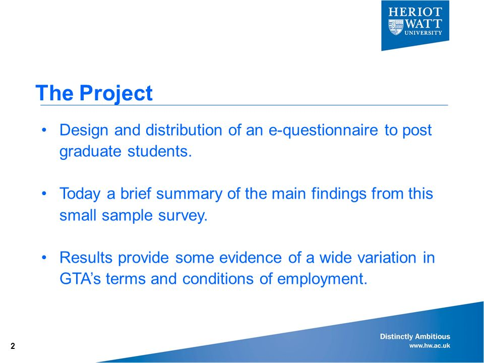 The Project Design and distribution of an e-questionnaire to post graduate students.