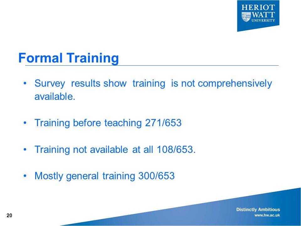 Formal Training Survey results show training is not comprehensively available.