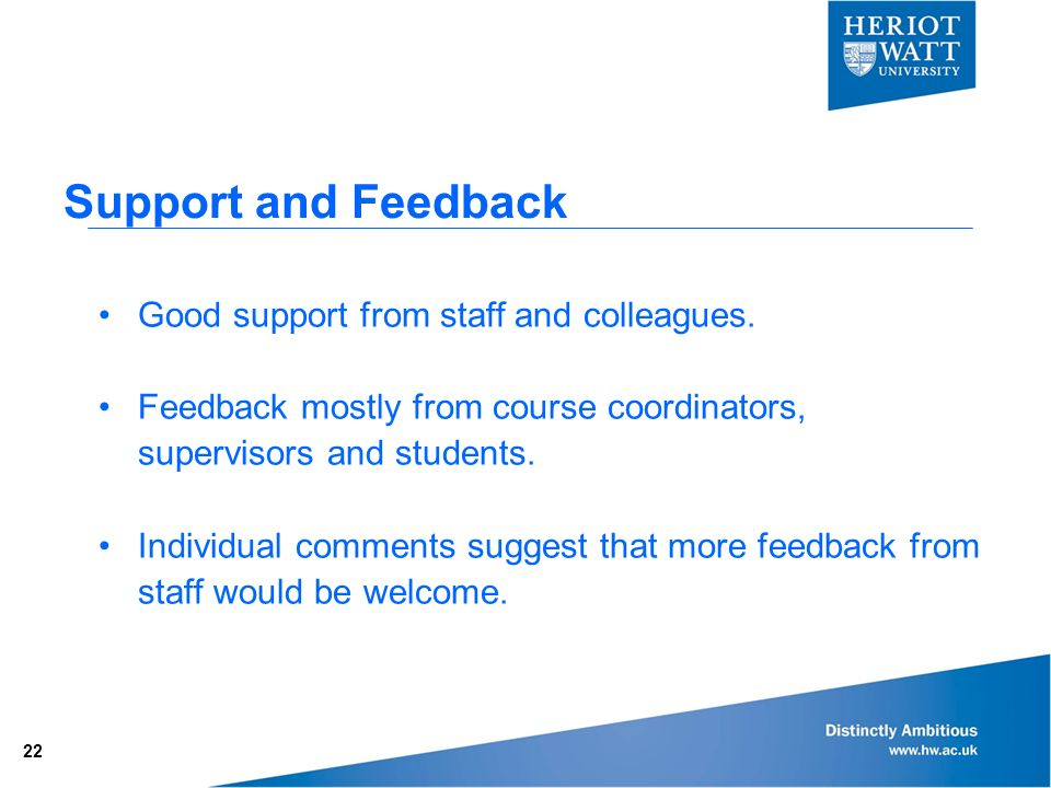 Support and Feedback Good support from staff and colleagues.