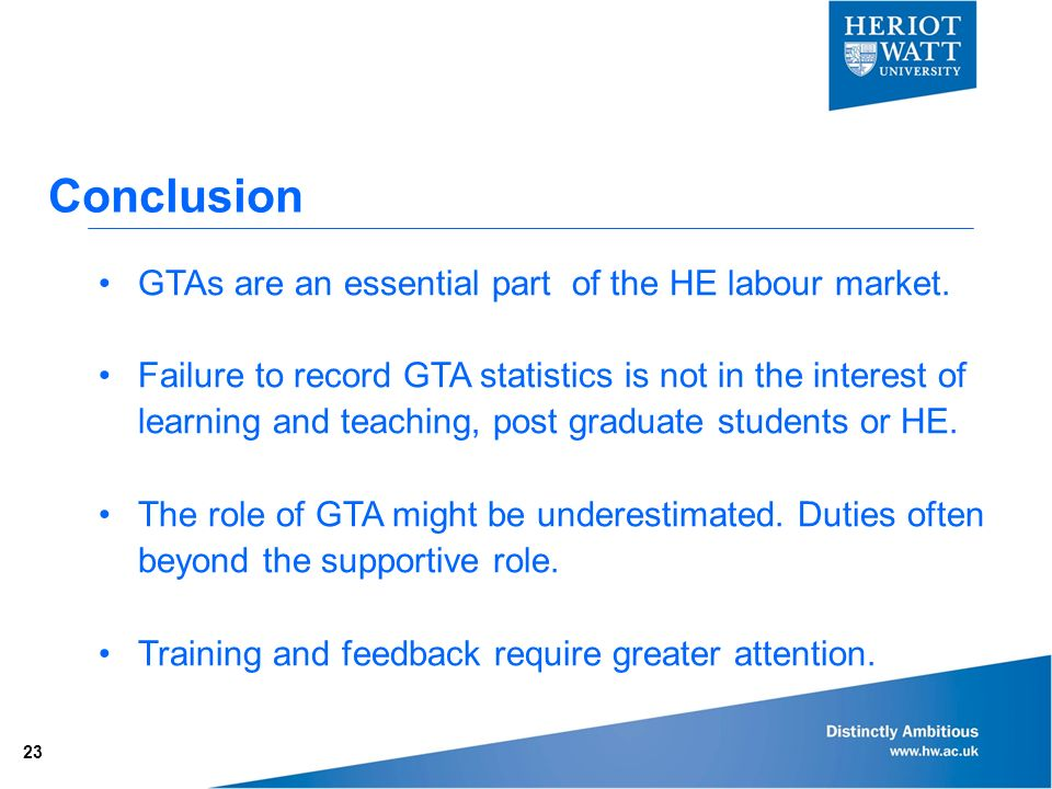 Conclusion GTAs are an essential part of the HE labour market.