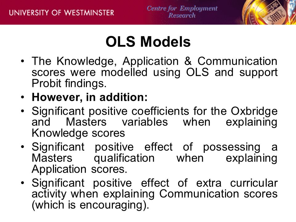OLS Models The Knowledge, Application & Communication scores were modelled using OLS and support Probit findings.