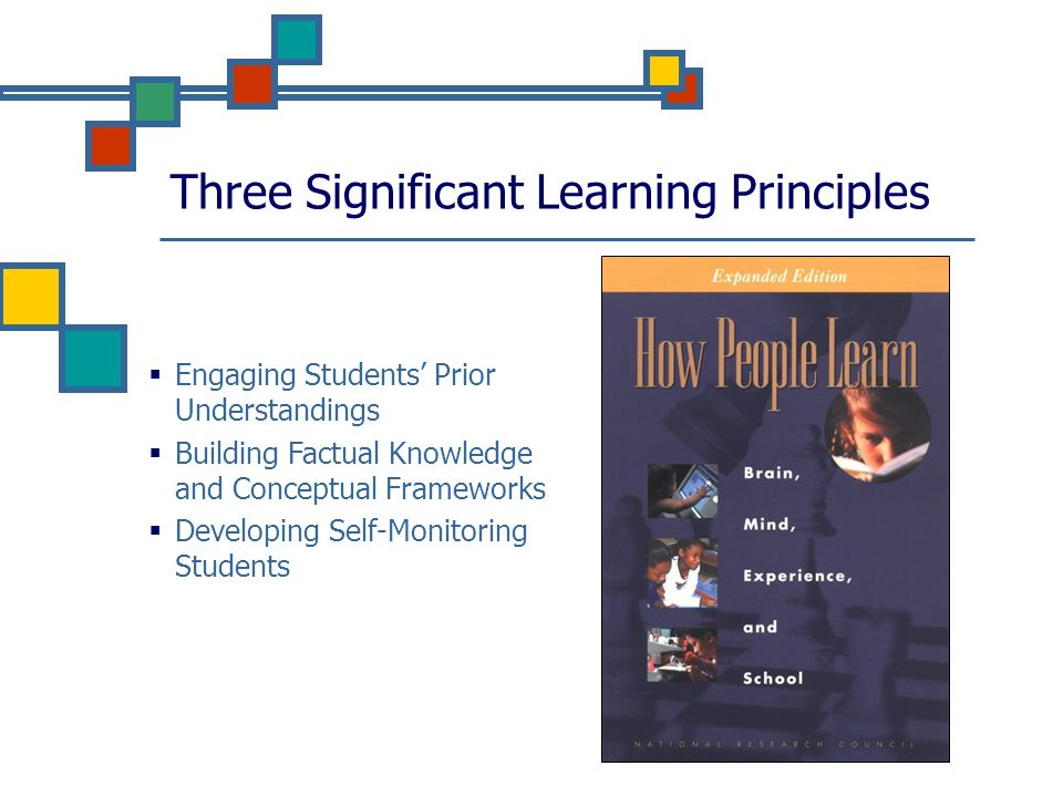 Three Significant Learning Principles Engaging Students Prior Understandings Building Factual Knowledge and Conceptual Frameworks Developing Self-Monitoring Students
