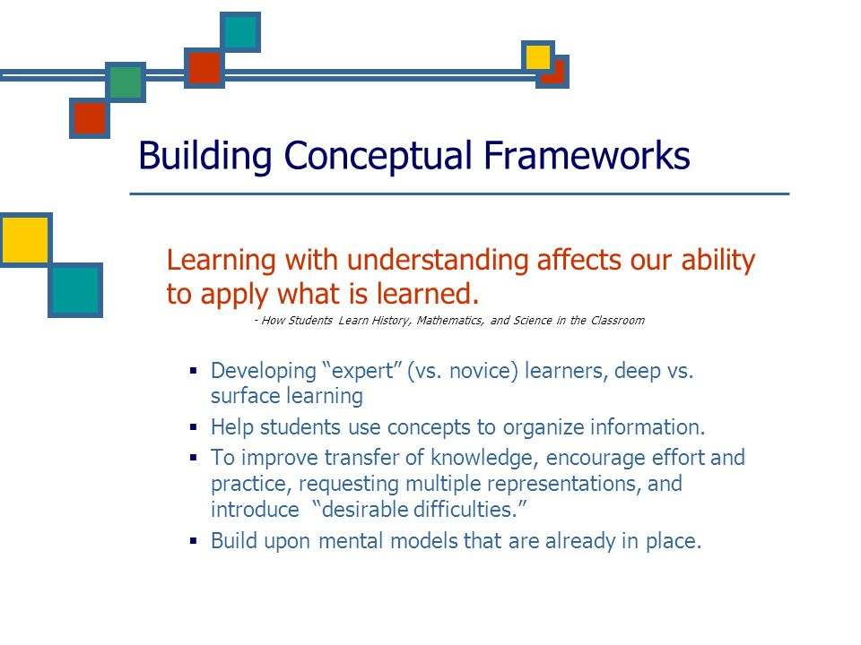 Building Conceptual Frameworks Learning with understanding affects our ability to apply what is learned. - How Students Learn History, Mathematics, an