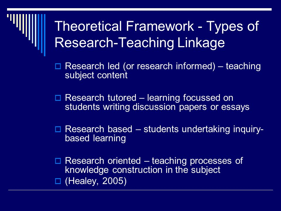 Theoretical Framework - Types of Research-Teaching Linkage Research led (or research informed) – teaching subject content Research tutored – learning focussed on students writing discussion papers or essays Research based – students undertaking inquiry- based learning Research oriented – teaching processes of knowledge construction in the subject (Healey, 2005)