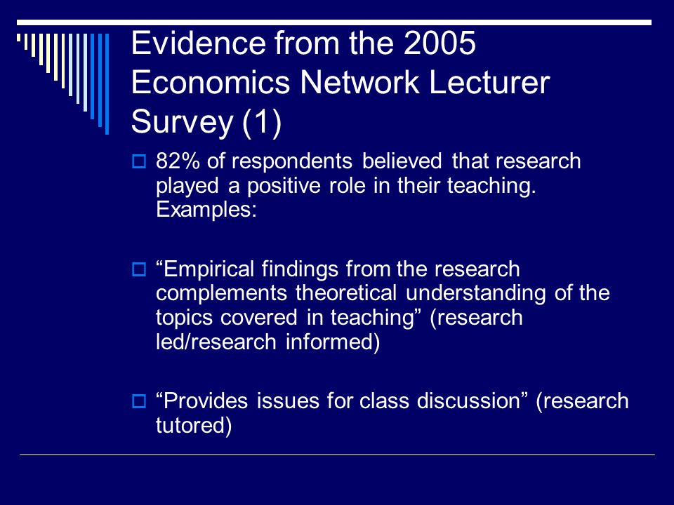 Economics Network Resources http://www.economicsnetwork.ac.uk/handbook/ugresearc h/ http://www.economicsnetwork.ac.uk/handbook/ugresearc h/ Outlines some of the methods currently being used in the US (mainly for final year courses) http://www.economicsnetwork.ac.uk/handbook/dissertatio ns http://www.economicsnetwork.ac.uk/handbook/dissertatio ns Discusses issues relating to undergraduate final year dissertations http://www.economicsnetwork.ac.uk/showcase/research 6 case studies of how research and teaching can be linked