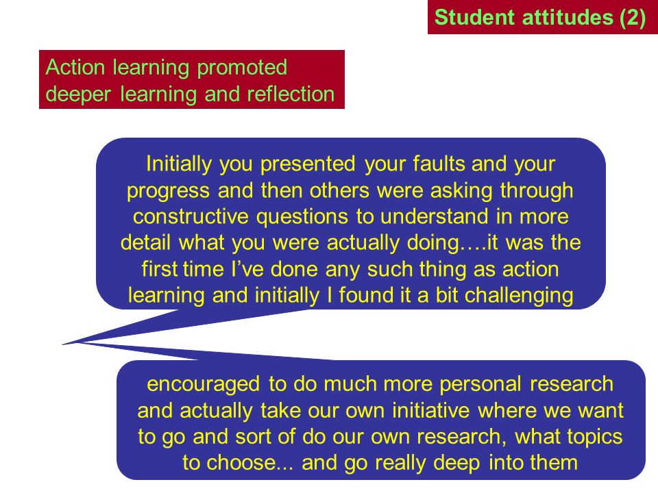 Student attitudes (3) [G]radually it became better as we all got deeper into the research questions or the questions we were researching because then it became much clearer who was keen on working and we started to ask the right questions because we knew a bit more [B]e the active member of the discussion and be sort of the one who can direct the speaker through constructive questions to help them learn and reflect on how they do their own research and how they go about doing their other coursework.