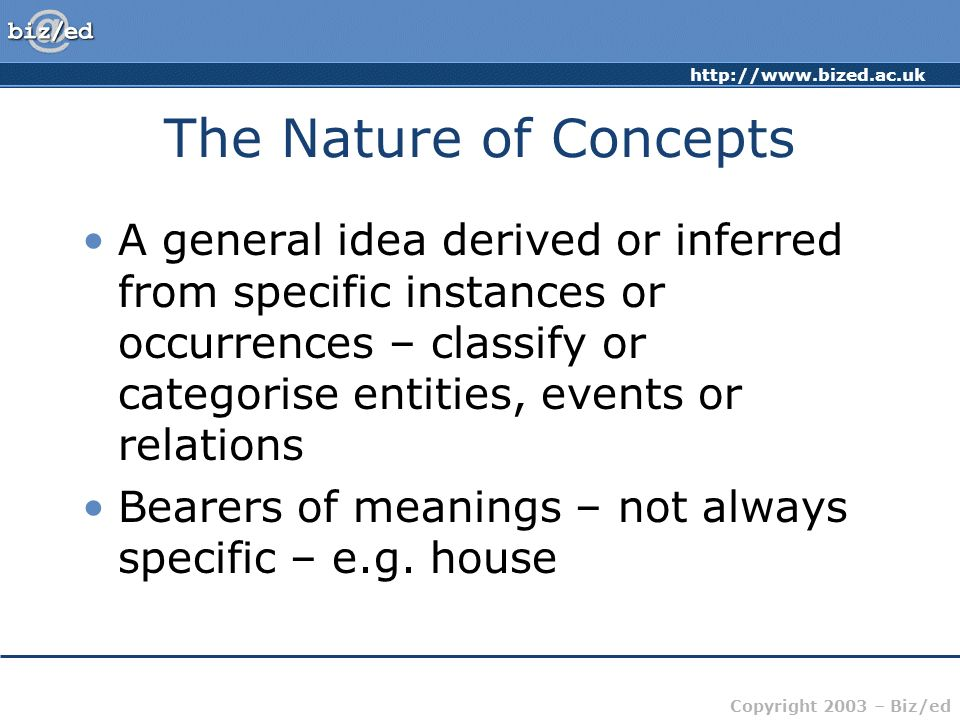 http://www.bized.ac.uk Copyright 2003 – Biz/ed The Nature of Concepts A general idea derived or inferred from specific instances or occurrences – clas