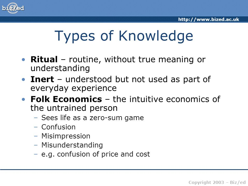 http://www.bized.ac.uk Copyright 2003 – Biz/ed Types of Knowledge Ritual – routine, without true meaning or understanding Inert – understood but not u