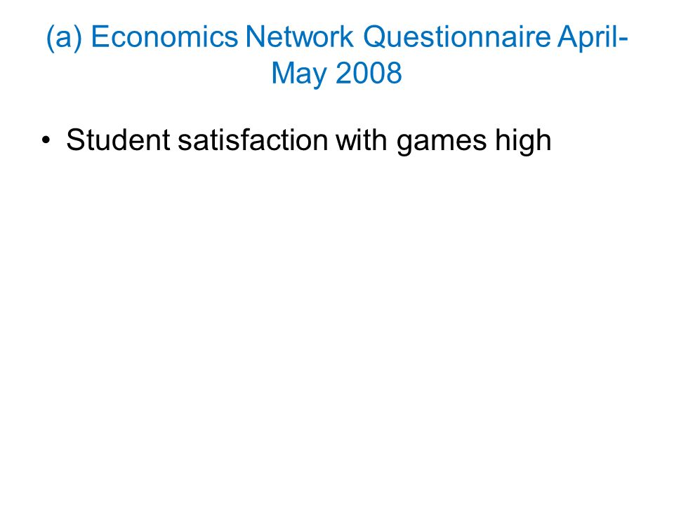 (a) Economics Network Questionnaire April- May 2008 Student satisfaction with games high