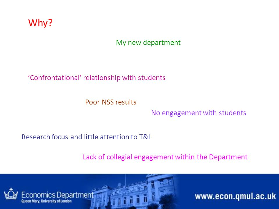 Why? My new department Confrontational relationship with students Poor NSS results No engagement with students Research focus and little attention to