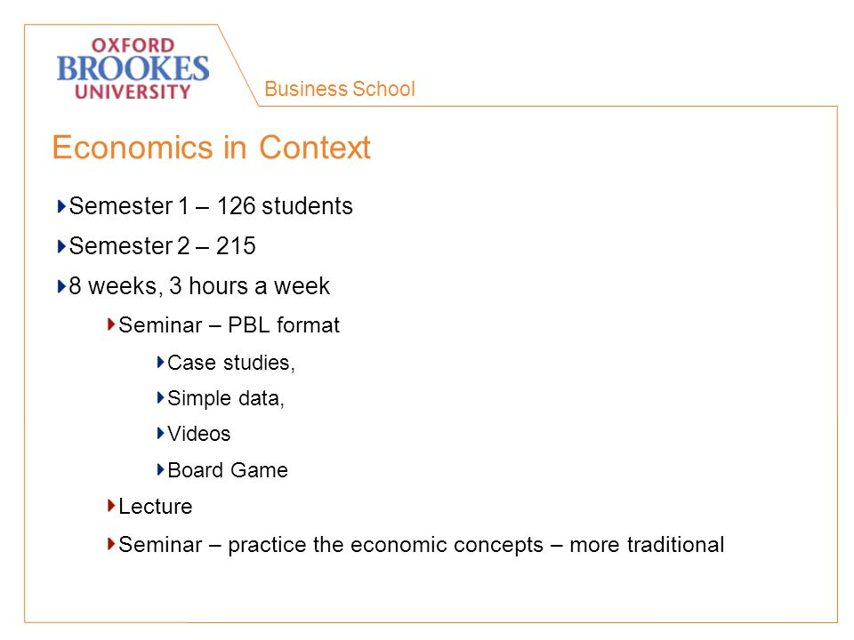 Business School Economics in Context Semester 1 – 126 students Semester 2 – 215 8 weeks, 3 hours a week Seminar – PBL format Case studies, Simple data, Videos Board Game Lecture Seminar – practice the economic concepts – more traditional