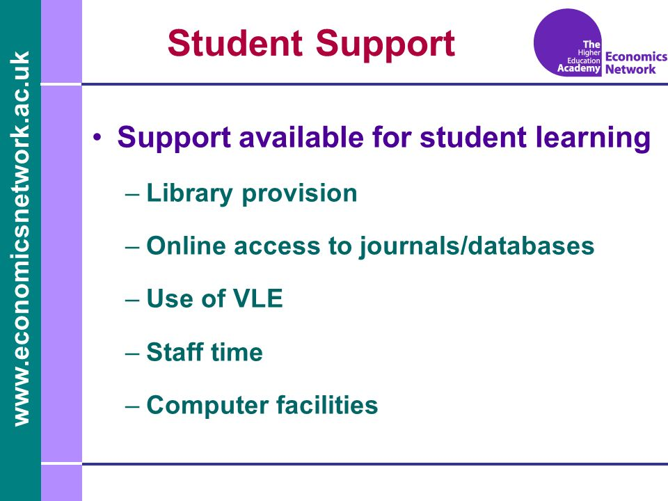 www.economicsnetwork.ac.uk www.economics.ltsn.ac.uk Student Support Support available for student learning –Library provision –Online access to journa