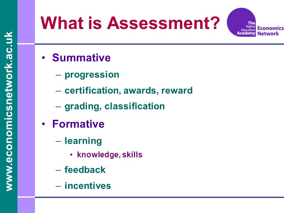 www.economicsnetwork.ac.uk What is Assessment.