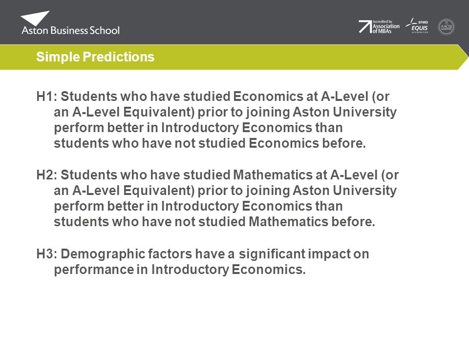 Simple Predictions H1: Students who have studied Economics at A-Level (or an A-Level Equivalent) prior to joining Aston University perform better in I